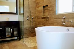 Modernt badrum - inredesign Fotografering för Bildbyråer