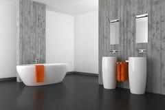 Modernt badrum med betongväggen och det mörka golvet Fotografering för Bildbyråer