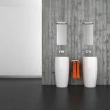 Modernt badrum med betongväggen och det mörka golvet Royaltyfri Fotografi