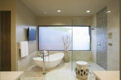 Modernt badrum med det fristående badet Royaltyfri Foto