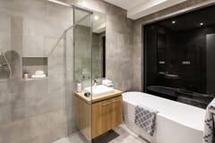 Modernt badrum med en dusch och ett badkar arkivfoton