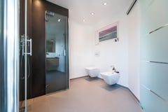 Modernt badrum med exponeringsglasdörrar royaltyfri bild