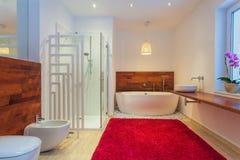Modernt badrum med matta Royaltyfri Foto
