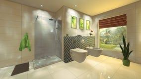 Modernt badrum med mosaikväggen Arkivbild