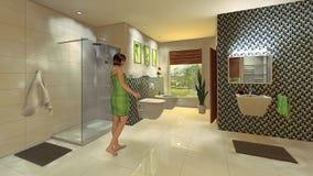 Modernt badrum med mosaikväggen royaltyfri bild