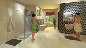 Modernt badrum med mosaikväggen royaltyfria bilder