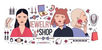 Modernt baner med unga härliga flickor som bär stilfulla massiva örhängen Uppsättning av trendiga smyckenobjekt på vektor illustrationer