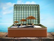 Modernt begrepp av att koppla av på stranden i en resväska med umbre vektor illustrationer