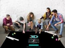 modernt begrepp för tredimensionell futuristisk skärm 3D Arkivfoto