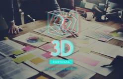 modernt begrepp för tredimensionell futuristisk skärm 3D Arkivbilder