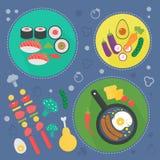 Modernt begrepp för matlagningförälskelselägenhet Kökhjälpmedel, matmaträtten och matlagninginfographicsen planlägger, rengörings Royaltyfri Bild