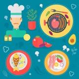 Modernt begrepp för matlagningförälskelselägenhet Kökhjälpmedel, matmaträtten och matlagninginfographicsen planlägger, rengörings Royaltyfri Foto