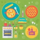 Modernt begrepp för matlagningförälskelselägenhet Kökhjälpmedel och matlagningmatinfographicsen planlägger, rengöringsdukbestånds Royaltyfri Foto