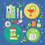 Modernt begrepp för medicin- och sjukvårdservicelägenhet Medicinsk design för infographics för apotekteknologidiagnostik, rengöri Royaltyfri Foto