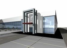 modernt byggande 3d framför Royaltyfri Foto