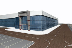 modernt byggande 3d framför Arkivbild
