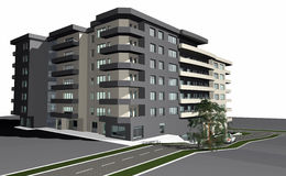 modernt byggande 3d framför bostads Royaltyfri Bild
