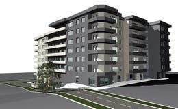 modernt byggande 3d framför bostads stock illustrationer