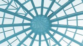 modernt byggnadskupolexponeringsglas Sikt från insidan av rummet Ljus konstruktion av det genomskinliga taket som göras av runda Royaltyfri Foto