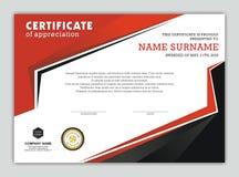 Modernt certifikat eller diplom med stilfull design stock illustrationer