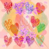 Modernt cherfullmotiv med hjärtor och blommor Tillämpbart som valentindagbakgrund eller bröllopgarnering Royaltyfri Foto