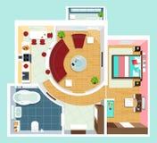 Modernt detaljerat golvplan för lägenhet med möblemang Bästa sikt av lägenheten Plan projektion för vektor Royaltyfri Bild