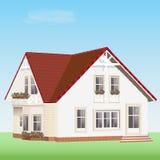 Modernt detaljerat vektorhus med blommor Gulligt realistiskt privat hus med det röda taket royaltyfri illustrationer