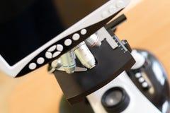Modernt digitalt mikroskop med LCD-skärm arkivfoto