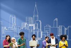 Modernt Distrct för storstads- stads- byggnad i stadens centrum begrepp arkivbild