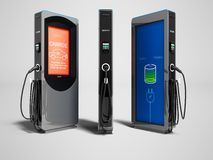Modernt elektriskt tanka med betalning utanför för elbil vektor illustrationer