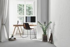 Modernt enkelt kontor med bockskrivbordet stock illustrationer