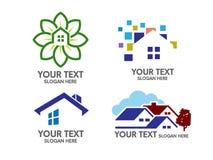 Modernt fastighet- och huslogobegrepp stock illustrationer