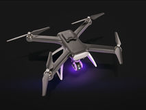 Modernt flyg för fjärrkontrollluftsurr med handlingkameran På svart bakgrund 3d Arkivfoto