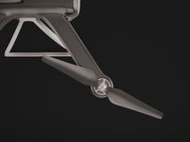 Modernt flyg för fjärrkontrollluftsurr med handlingkameran På svart bakgrund 3d Fotografering för Bildbyråer