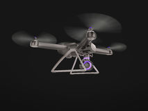 Modernt flyg för fjärrkontrollluftsurr med handlingkameran På svart bakgrund 3d Royaltyfria Foton