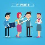 Modernt folk med elektroniska grejer royaltyfri illustrationer