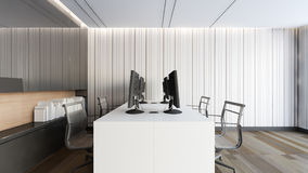 Modernt funktionsdugligt rum med den svarta tolkningen kabinett/3D Arkivbilder