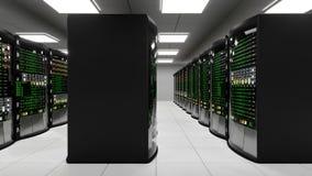 Modernt funktionsdugligt serverrum med kuggeserveror lager videofilmer