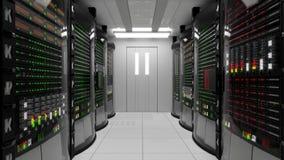 Modernt funktionsdugligt serverrum med kuggeserveror arkivfilmer