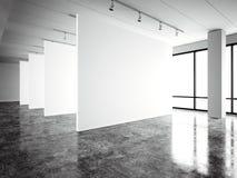 Modernt galleri för fotoutläggning, öppet utrymme Modernt industriellt ställe för tom vit tom kanfas Enkelt inre vind vektor illustrationer