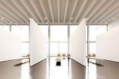 Modernt galleri för fotoutläggningutrymme Hängande samtida konstmuseum för tom vit tom kanfas Inre vindstil med royaltyfri fotografi