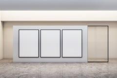 Modernt galleri med banret stock illustrationer