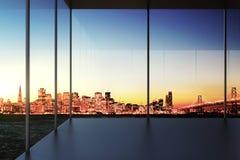Modernt genomskinligt tomt rum med stadssikt på solnedgången royaltyfri bild