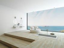 Modernt golvbadkar mot enormt fönster med seascapesikt royaltyfri illustrationer