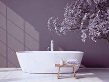 Modernt grått badrum med badkaret framförande 3d stock illustrationer