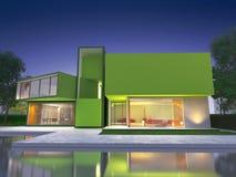 modernt grönt hus royaltyfri illustrationer