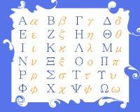 Modernt grekiskt alfabet Arkivbild