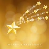 Modernt guld- julhälsningkort, inbjudan med komet, fallande stjärna, Arkivbild