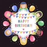Modernt gulligt och roligt kort för hälsning för födelsedag för tecknad filmryssdockor Arkivfoto