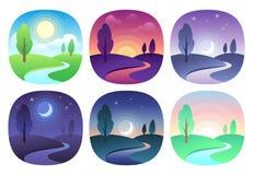Modernt härligt landskap med lutningar Soluppgång-, gryning-, morgon-, dag-, middag-, solnedgång-, skymning- och nattsymbol Solti vektor illustrationer
